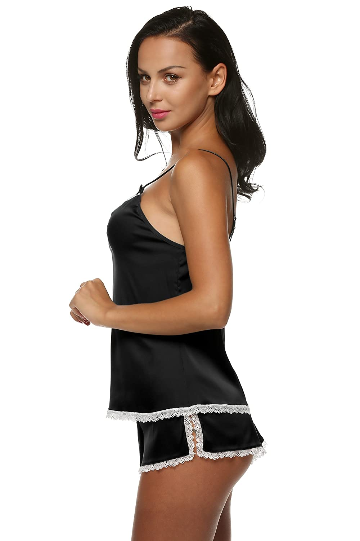 Lantusi Ladies Solid Color Satin Pajamas Sexy 2 Piece Sleepwear Set XS-XXL at Amazon Womens Clothing store: