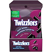 TWIZZLERS Black Licorice Candy, Extra Soft Bites, 12 Count