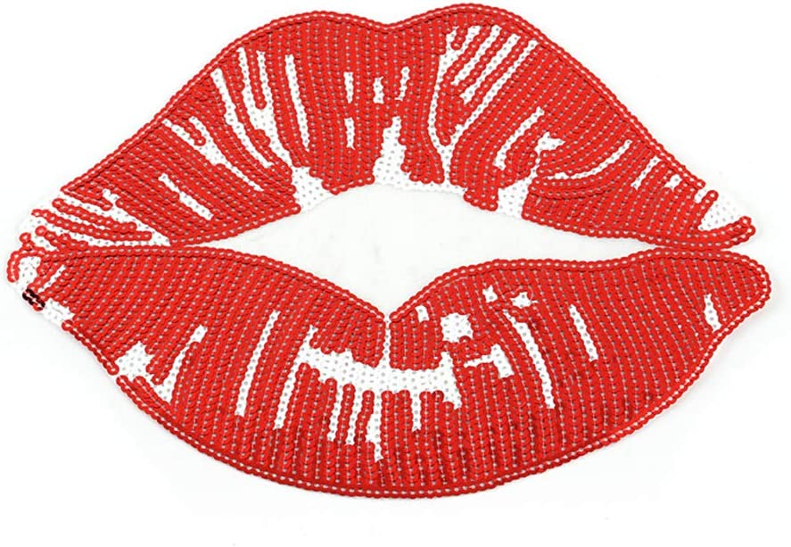 Embroidered iron on patches for clothing Red sequins Lips DIY Motif Applique Wd