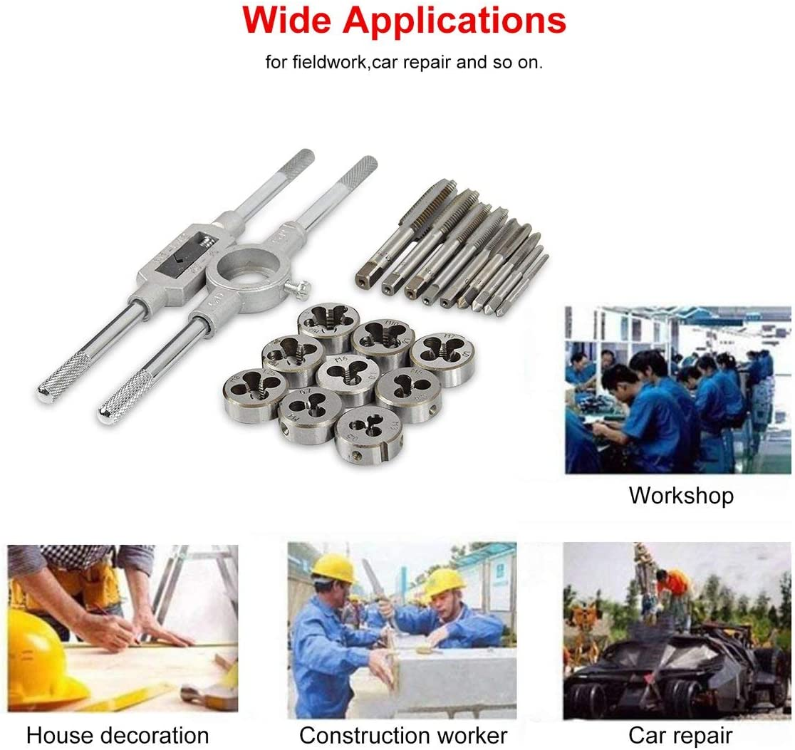 Shengerm 20PCS M3-M12 Alloy Steel Tap /& Die Set Small Tap Twisted Hand Tools 1//16-1//2 Inch NC Screw Thread Plugs Taps Hand Screw Taps