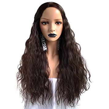 Amazon.com   Anogol Hair Cap+Brown Wig Synthetic Hair Long Kinky Curly Yaki Wigs  For Women Daily Life   Beauty ae1db35ec