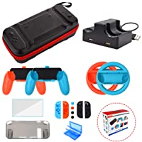 Nintendo Switch Accessories Starter Kit - Wheel Grip Caps Carrying Case Screen Protector Joy-Con Controller Charger for Nintendo Switch Console (17 in 1)