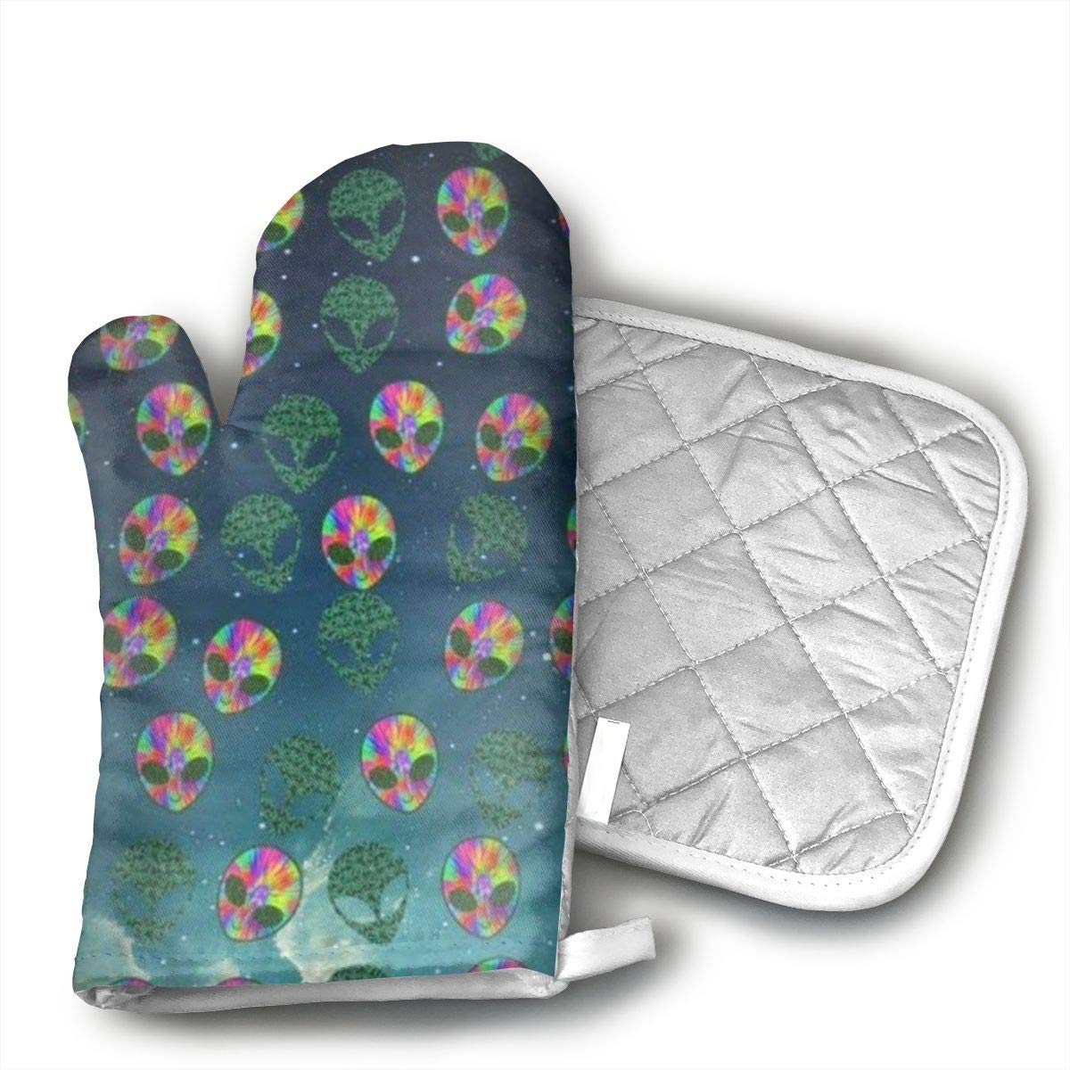 Wiqo9 Cool Tie Dye Weed Alien Head Leaf Oven Mitts and Pot Holders Kitchen Mitten Cooking Gloves,Cooking, Baking, BBQ.