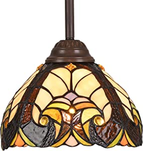 Tiffany Hanging Light, Artzone Handcrafted Tiffany Stained Glass Lamps Enhance Home Office Living Space, Tiffany Pendant Lighting with a Classic Feel - Abstract Art Style (W8 x H65.1 inches)