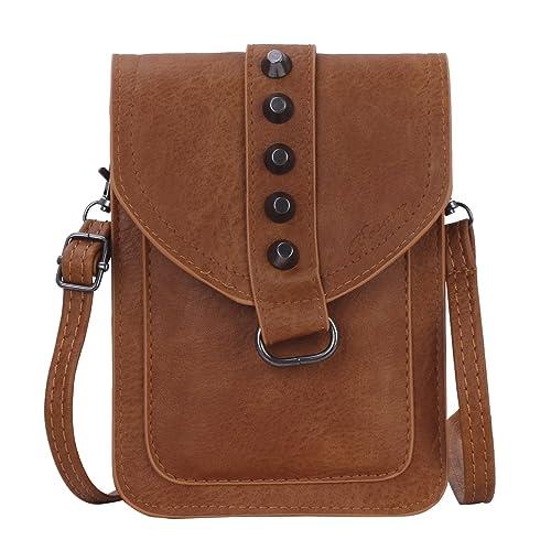 9a800b8d17aa62 Small crossbody bag, cellphone purse wallet passport holder for woman(Brown)