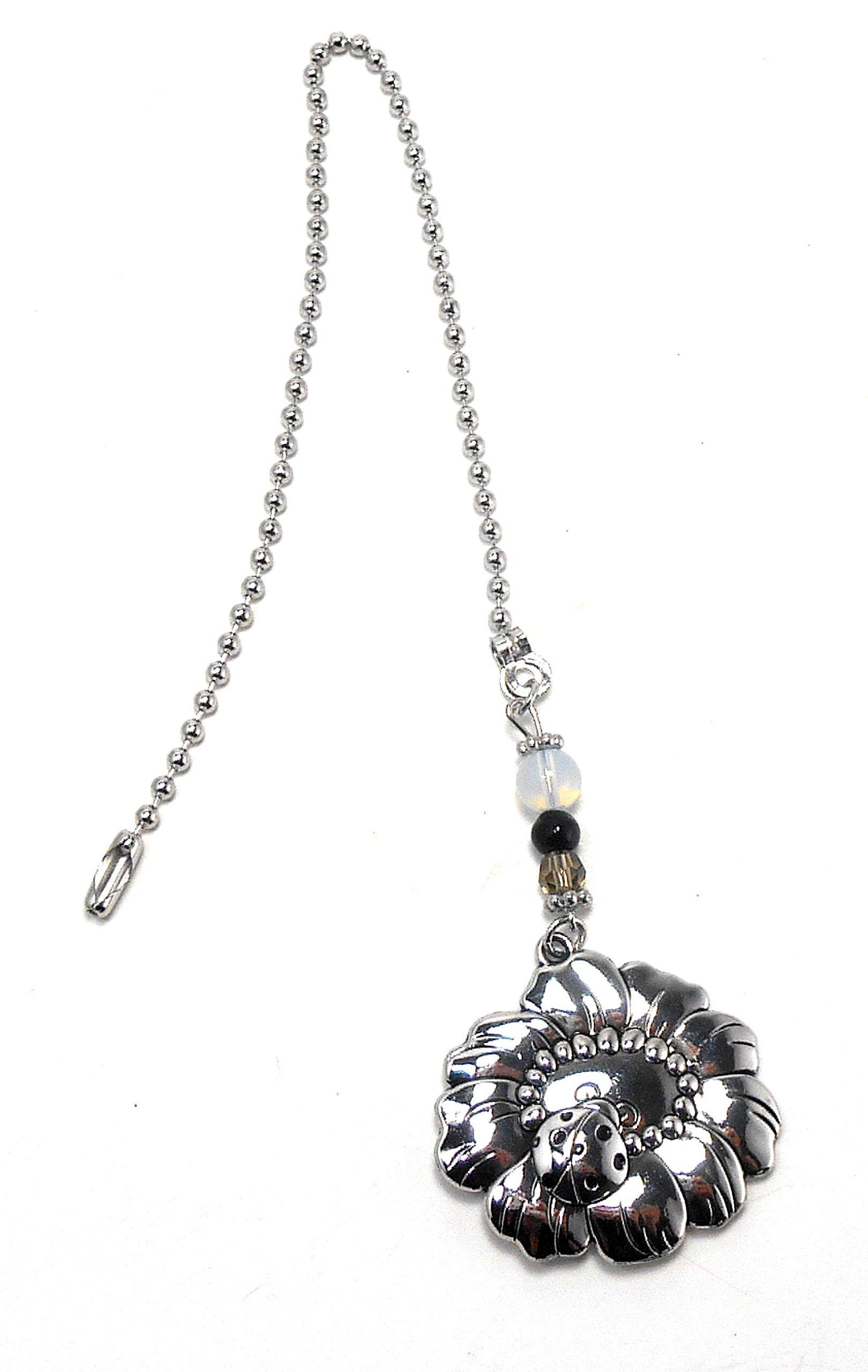 Silver Fan Pull From Ganz - Ladybug & Flower by Ganz (Image #3)