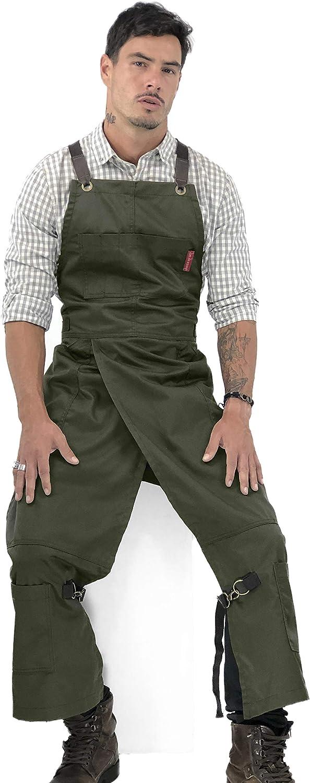 CLAYPRON Kitchen Artist Split Overlapped Apron Olive Green