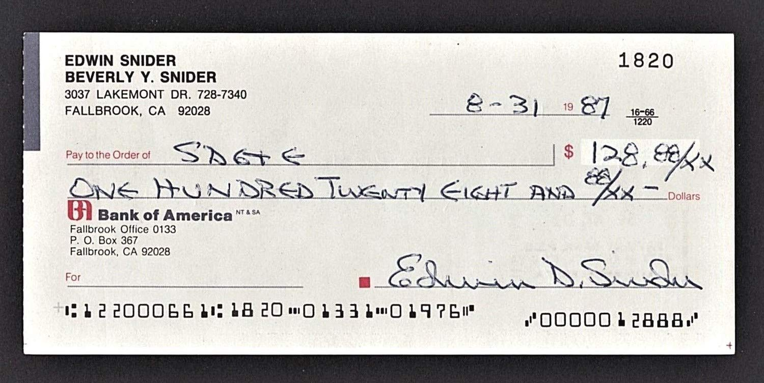 Duke Snider Autographed Signed Check Beckett Coa