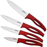 Jeslon® Ceramic Knives Set, 4 Piece 6inch Chef Knife, 5inch Utility Knife, 4inch Fruit Knife, 3inch Paring Knife Kitchen Chefs Knives (Red)