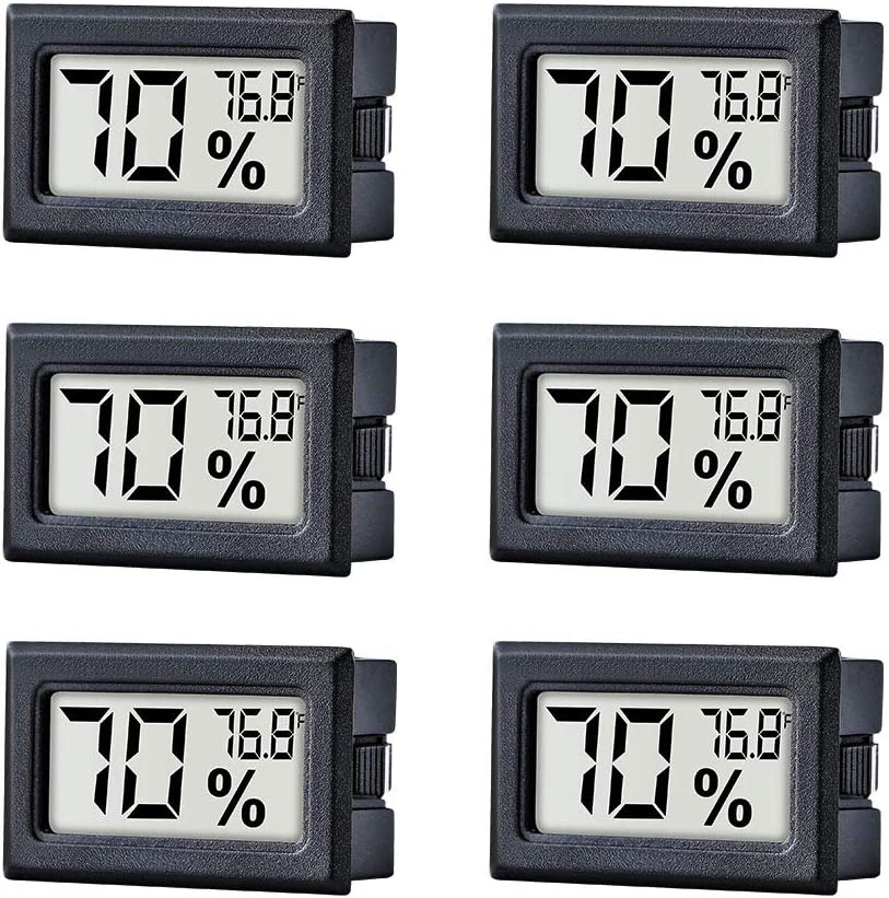 TAIWEI 6 Pack Mini Small Digital Electronic Temperature Humidity Meters Gauge Indoor Thermometer Hygrometer LCD Display Fahrenheit (℉) for Humidors, Greenhouse, Garden, Cellar