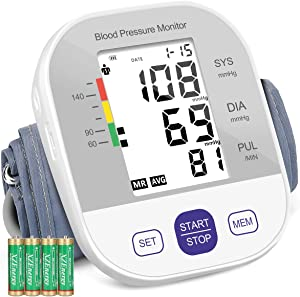 Blood Pressure Monitor Upper Arm,Automatic Blood Pressure Cuffs for Home Use,Accurate Blood Pressure Machine,BP Cuff Kit,Large Backlight Display,198 Sets Memory,Including Batteries, Carrying Case