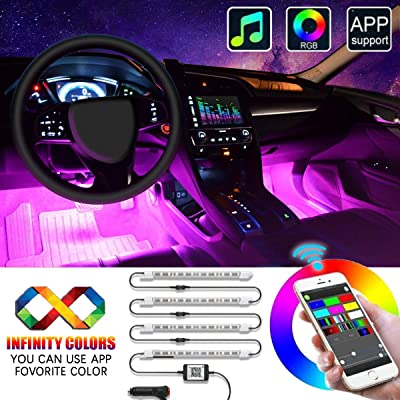 Interior Car LED Strip Lights, EJ's SUPER CAR 4pcs 48 LED APP Controller Car Interior Lights, One-Line Design Waterproof Multicolor Music Under Dash Lighting Kits, Car Charger Included, DC 12V: Automotive