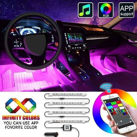 Interior Car LED Strip Lights, EJ's SUPER CAR 4pcs 48 LED APP Controller  Car Interior Lights, One-Line Design Waterproof Multicolor Music Under Dash