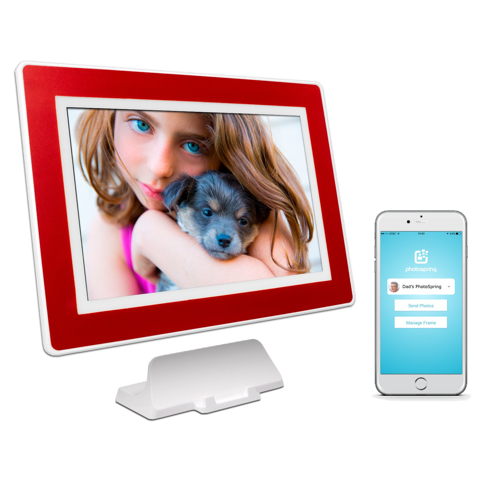 PhotoSpring (32GB) 10-inch WiFi Cloud Digital Picture Frame - Battery, Touch-Screen, Plays Video and Photo Slideshows, HD IPS Display, iPhone & Android app (White/Maroon Red Mat - 32,000 Photos) by PhotoSpring