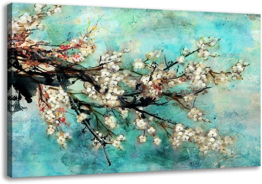 Wall Art for Living Room, Flower Painting Prints On Canvas Gallery Wrapped Large Framed Floral Plum Blossom Tree Teal Blue Artwork for Home Bathroom Office Over The Bedroom Wall Decorations