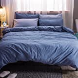 MooMee Duvet Cover Set Solid Blue Washed Cotton Home Bedding Collection 3 Pieces Includes 1 Comforter Cover 2 Pillow Shams Soft King Size