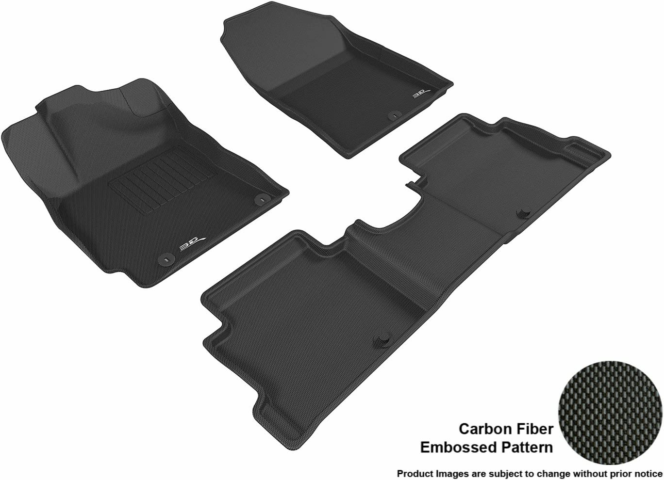 3D MAXpider Black Hyundai Elantra Sedan 2017-2017 Kagu Rubber 2 Rows L1HY07101509