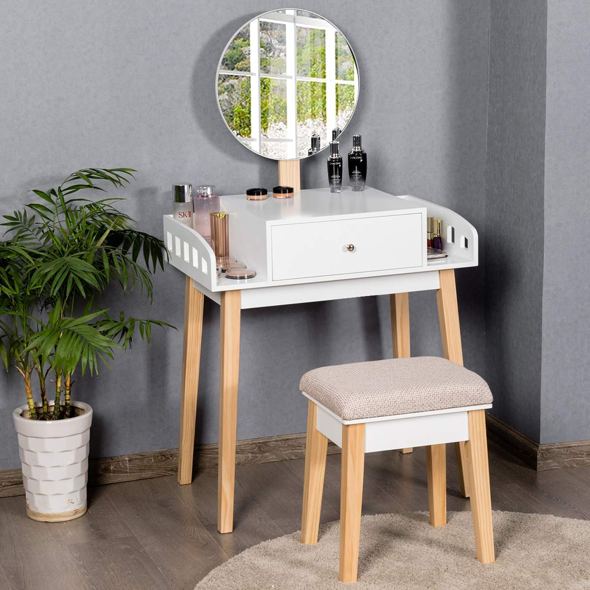 Giantex Vanity Table Set with Height Adjustable Round Mirror, Makeup Mirrored Dressing Table with Cushioned Stool, Side Storage and Large Drawer, Gift Vanities for Women Girls Bedroom White