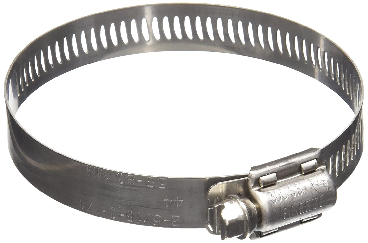 SAE Size 44 2-5//16 to 3-1//4 Diameter Range 1//2 Band Width 03610115059 Worm-Drive Pack of 10 Breeze 63044H Marine Grade Power-Seal Stainless Steel Hose Clamp Pack of 10 2-5//16 to 3-1//4 Diameter Range 1//2 Band Width