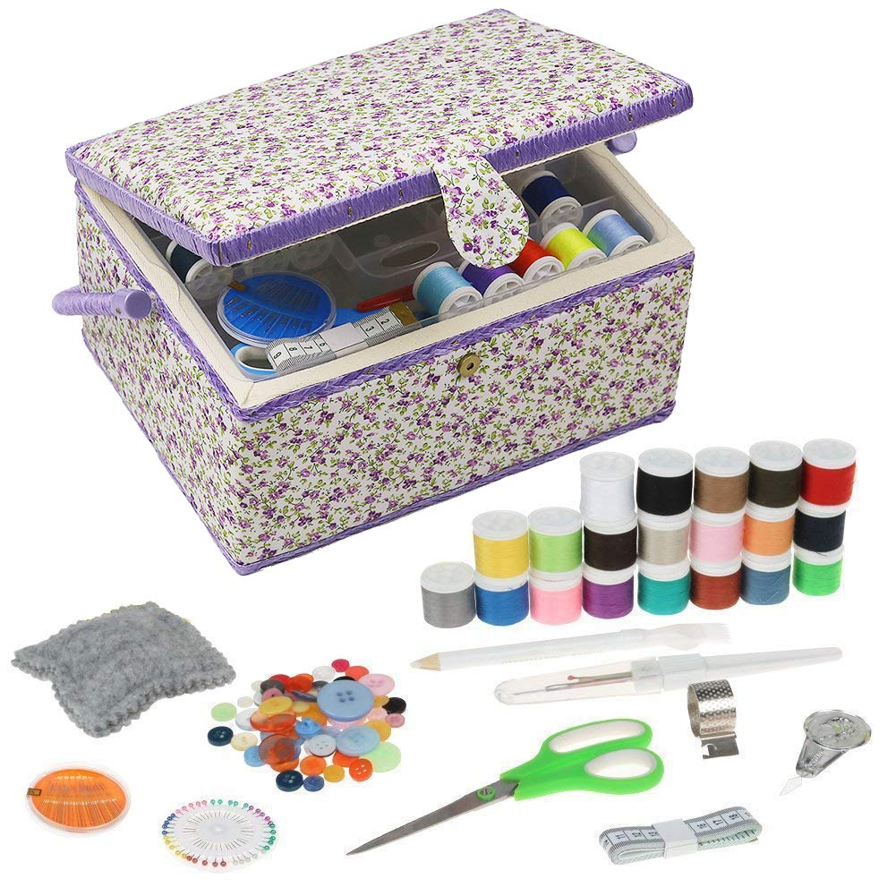 Large Sewing Box Organizer with Accessories Sewing Basket with Supplies DIY Sewing Kits for Adults, Purple Floral by D&D