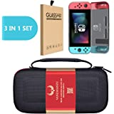 Travel Carrying Bag/TPU Grey Case/Tempered Glass - (3 in 1) Set - for Nintendo Switch Eva Hard Bag Handbag Travelling Bag Anti-Drop Full Protection - Screen Guard - Handheld Case Light Weight (Black)