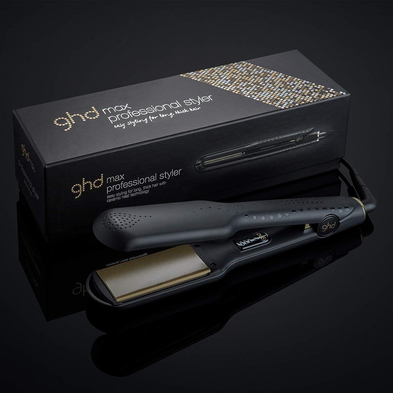 ghd max - Plancha de pelo profesional con plachas anchas 5cm para cabello largo, Negra: Amazon.es: Salud y cuidado personal