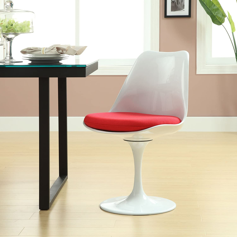 LexMod Eero Saarinen Style Tulip Side Chair with Red Cushion