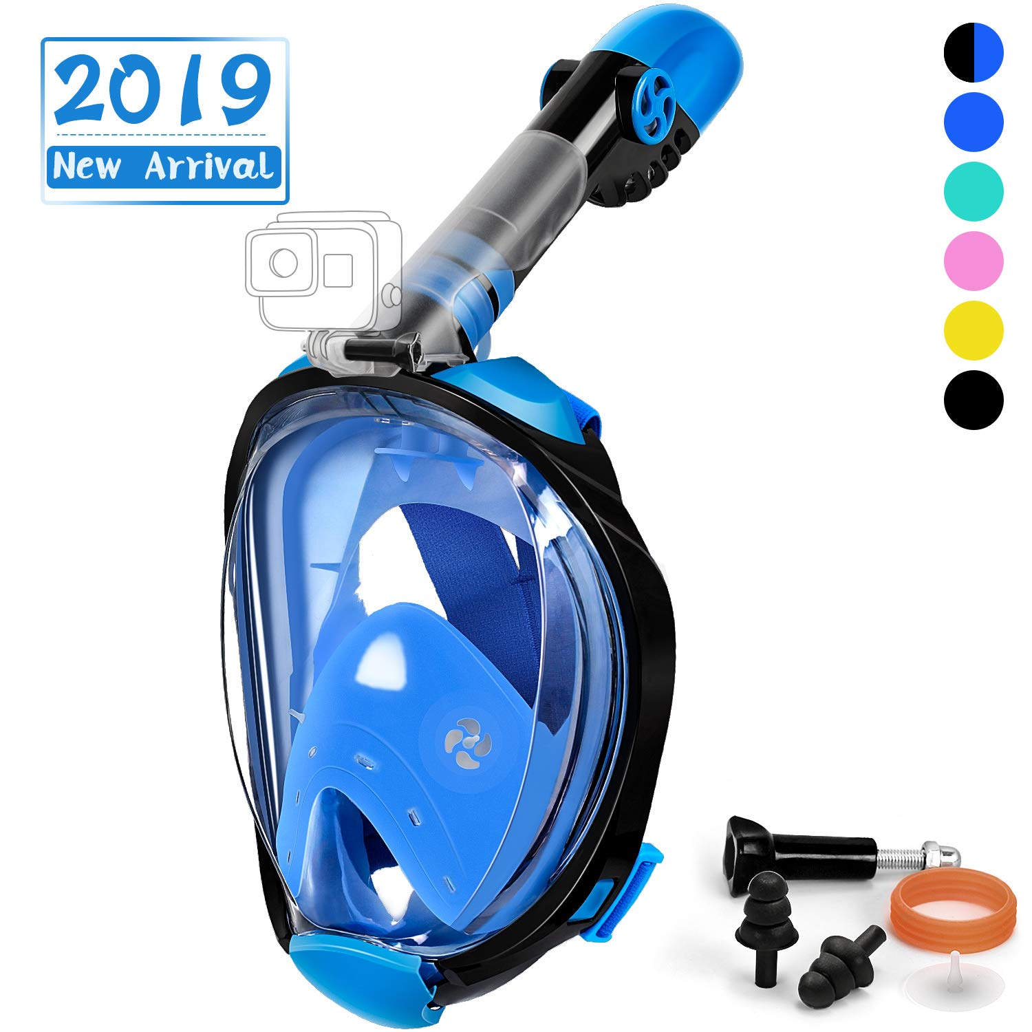 OUSPT Full Face Snorkel Mask, Snorkeling Mask with Detachable Camera Mount, Panoramic 180° View Upgraded Dive Mask with Newest Breathing System, Dry Top Set Anti-Fog Anti-Leak (Blue, S/M) by OUSPT