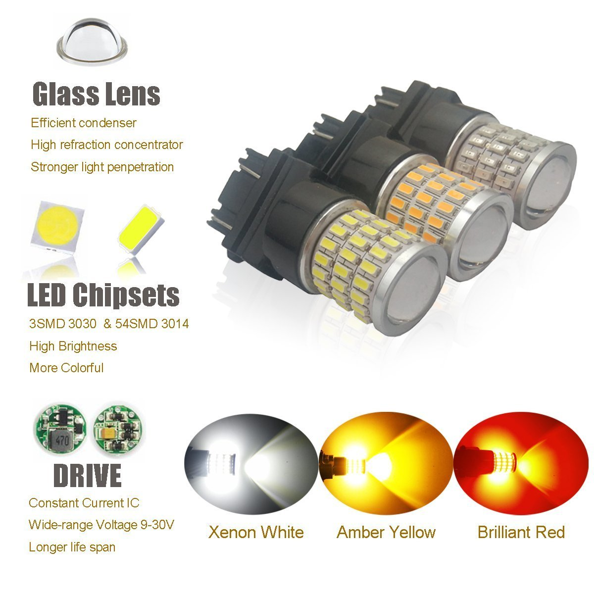 iBrightstar Newest 9-30V Super Bright Low Power Dual Brightness 3156 3157 3056 3057 LED Bulbs with Projector Replacement for Tail Brake Lights,Brilliant Red by iBrightstar (Image #7)
