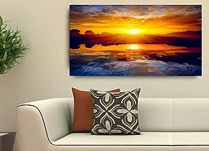Quadro Decorativo Para Sala Paisagem Por do Sol 55X100
