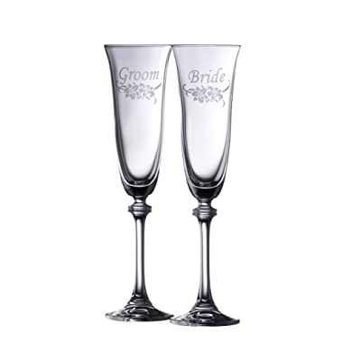 Galway Crystal Floral Bride & Groom Liberty Flute (1 Pair), Clear