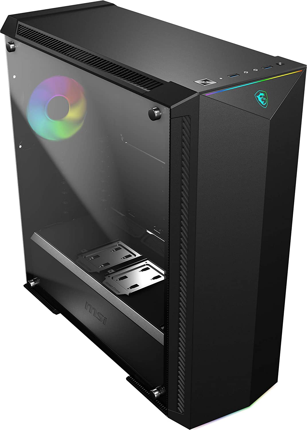 MSI Premium Mid-Tower PC Gaming Case – Tempered Glass Side Panel – RGB 120mm Fan – Liquid Cooling Support up to 420mm Radiator x 1 – Cable Management System – MPG GUNGNIR 100