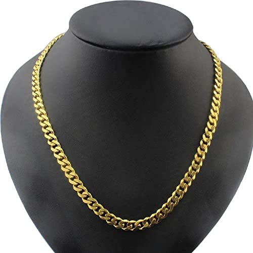 89fbb722d5c3b Men's Yellow Gold Plated 6mm Cuban Curb Chain Link Necklace, 26 Inch ...