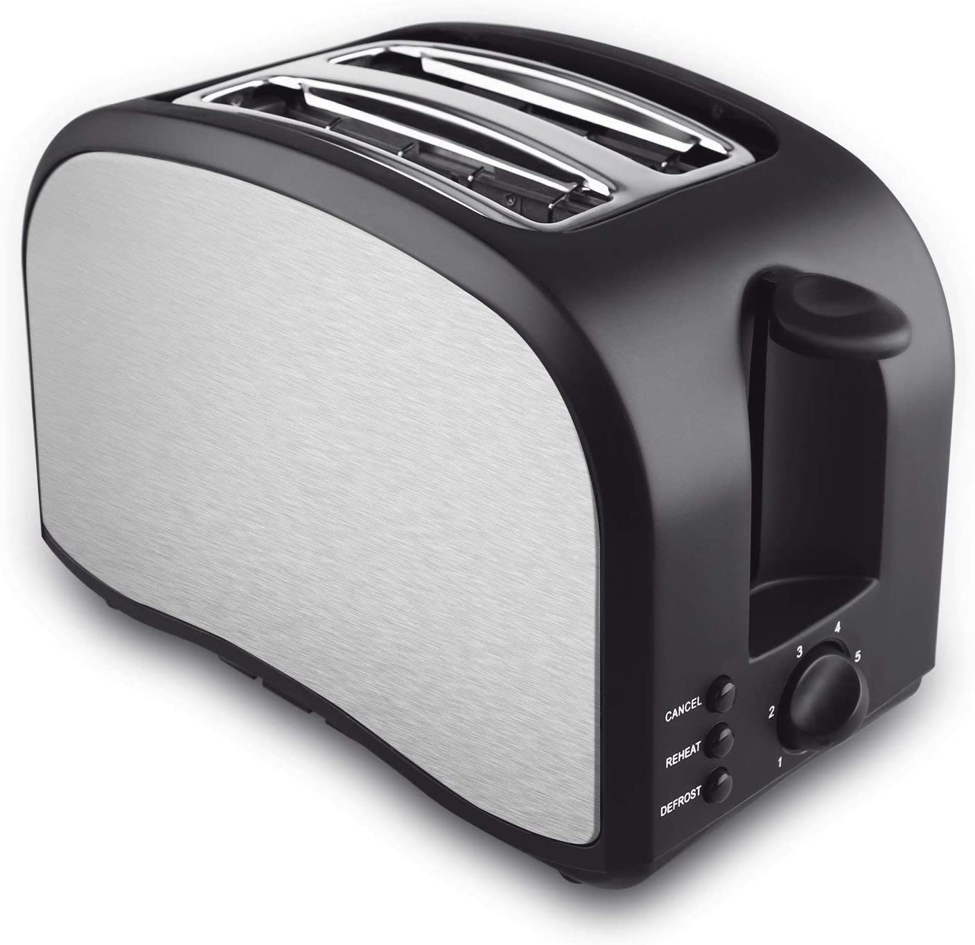 2 Slice Toaster, Cool Touch Toaster 2-Slice Self-Adjusting Toasting Slots, Compact Toasters with Defrost Reheat Cancel Function Extra Removable Crumb Tray, One Touch Quickly Toasts- Brush Stainless Steel