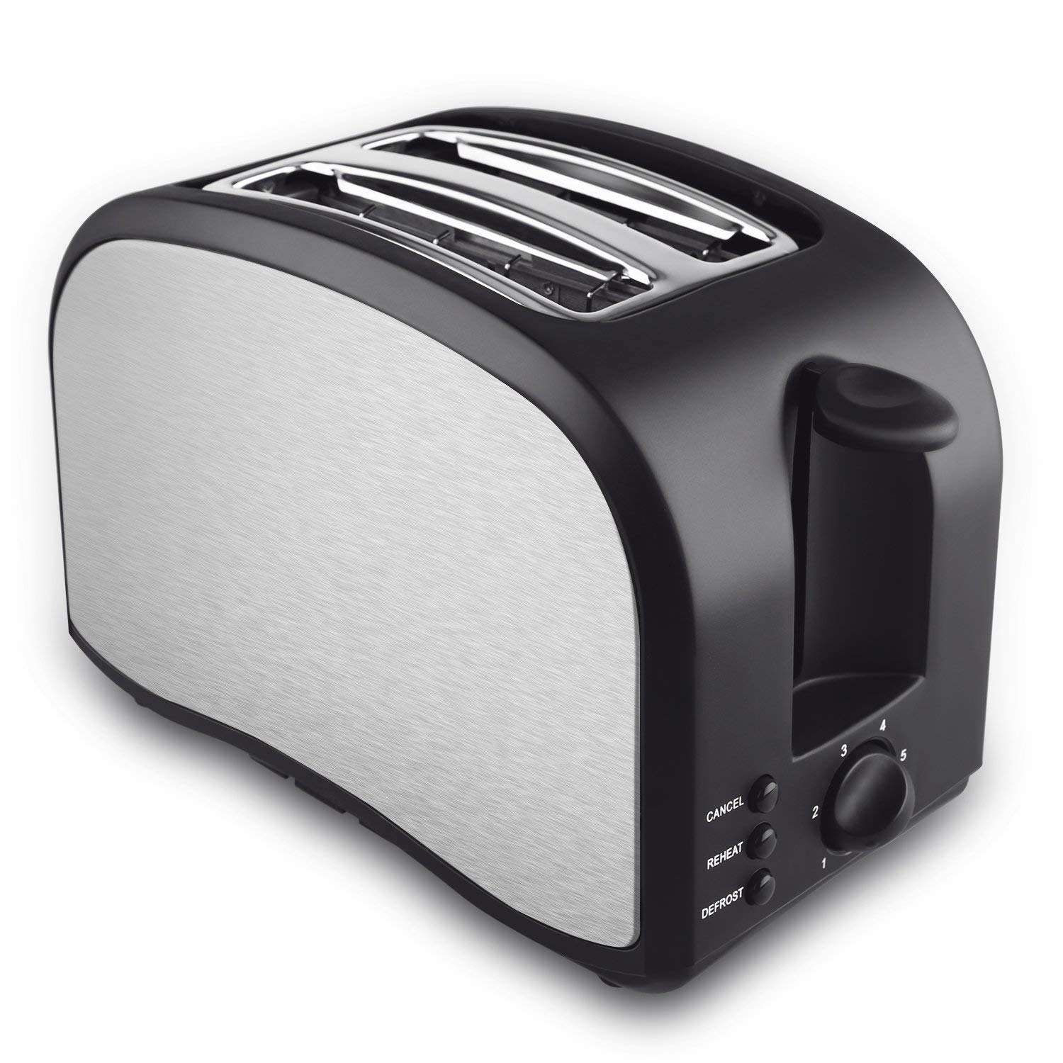 2 Slice Toaster, Cool Touch Toaster 2-Slice Self-Adjusting Toasting Slots, Compact Toasters with Defrost/Reheat/Cancel Function Extra Removable Crumb Tray, One Touch Quickly Toasts- Brush Stainless Steel (2 Slice Silver)