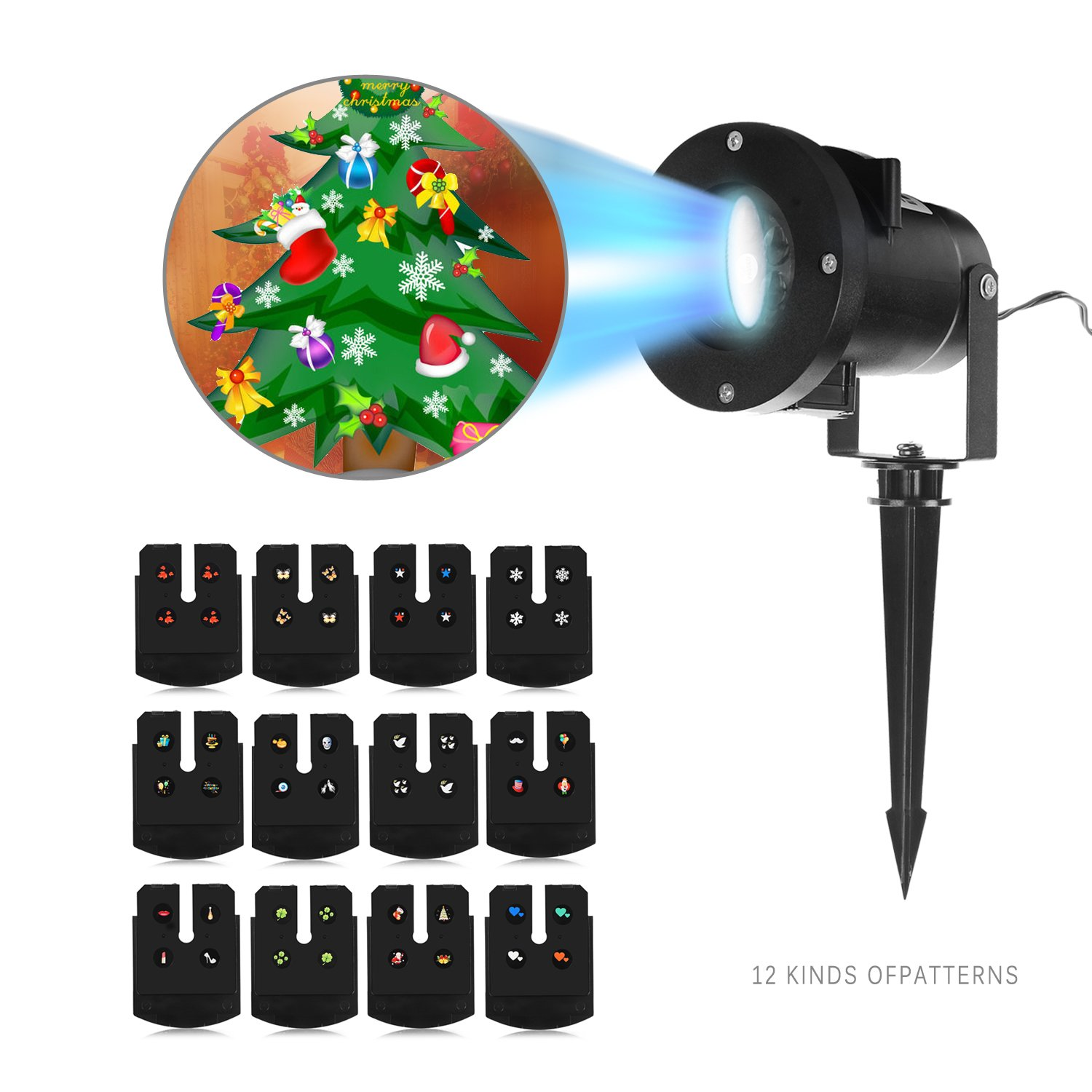 Outdoor Projector Lights, Komost LED Projector Lights with 12 Switchable Patterns, Indoor and Outdoor for Holiday Lanscape Decoration