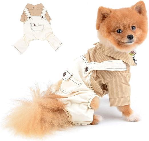 SELMAI Camisa Rayas para Perro con Pantalones Ropa para Perros Pequeños Medianos Mascotas Chihuahua 4 Piernas Trajes para Gatos Suave y Cómoda Ropa Perrito Uso Diario Primavera Verano Marrón L: Amazon.es: Productos