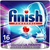 Finish Powerball Quantum Ultimate Dishwasher Tablets Original Superior, Clean, 16 Pack
