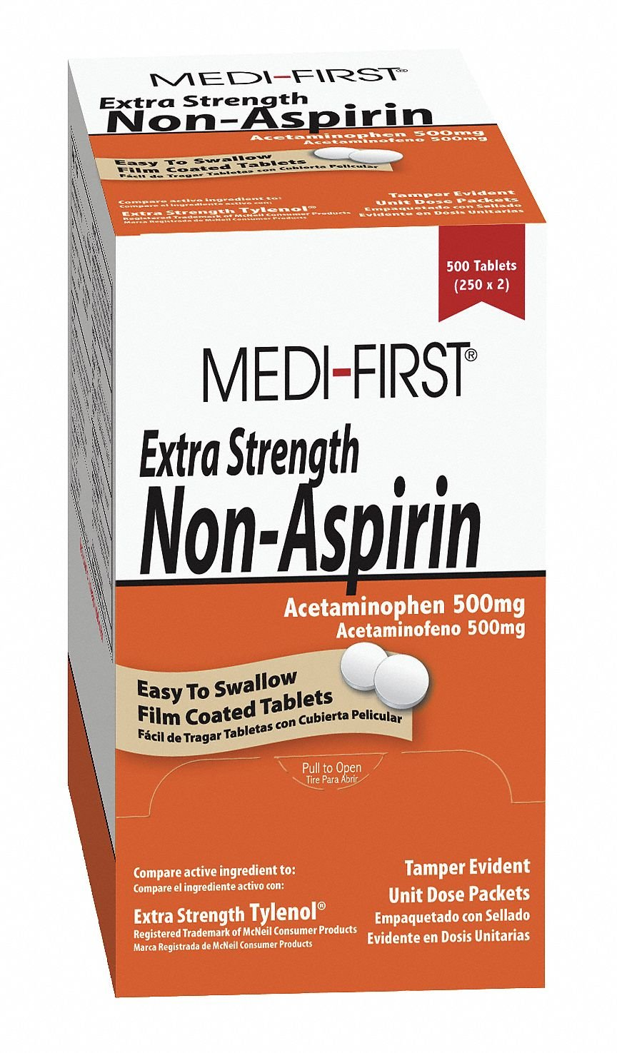 Extra Strength Non-Aspirin, 500mg, PK100 by Medi-First