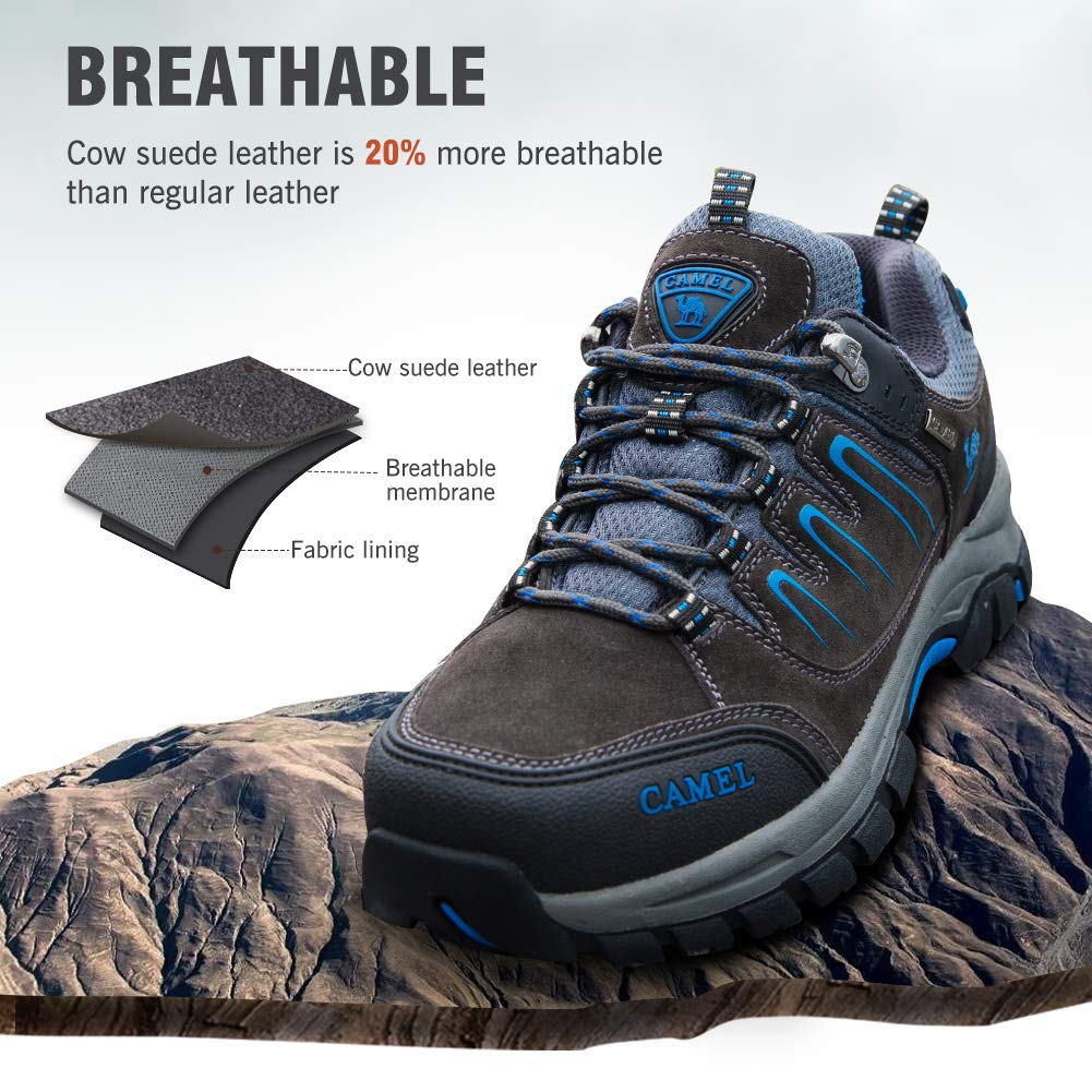 82fd8bfcc5b4 Camel Crown Men's/Women's Breathable Leather Hiking Shoes for Outdoor  Camping Trekking Exploring