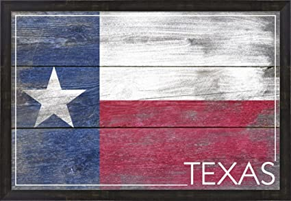 Amazon Com Texas Flag Wood By Lantern Press Framed Art Print Wall