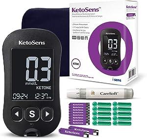 KetoSens Blood Ketone Monitoring Starter Kit - Ideal for Keto Diet. Includes Meter, 10 Test Strips, 10 Lancets, Lancing Device & Carrying Case