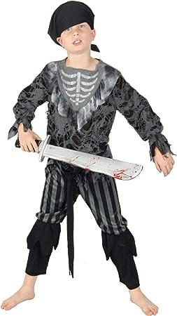 FOXXEO Esqueleto Fantasma Pirata Disfraces para Niños Halloween ...