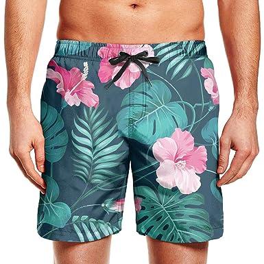 f0cf8ed9a5 Mortimer Green Hawaiian Tropical Hibiscus Flowers Men's Summer Casual Swimming  Shorts Beach Board Shorts   Amazon.com