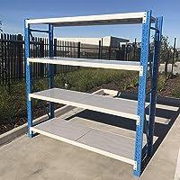 200x180cm Metal Warehouse Racking Storage Garage Shelving Steel Shelf 800kg Shelves (Blue + Grey)