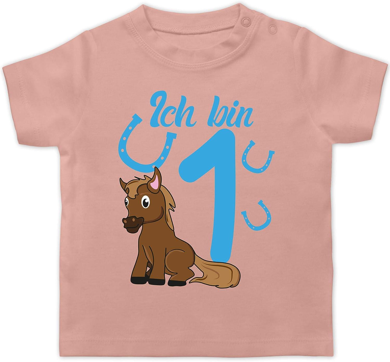 Shirtracer Ich Bin 1 Geburtstag Baby Pferd blau Baby T-Shirt Kurzarm