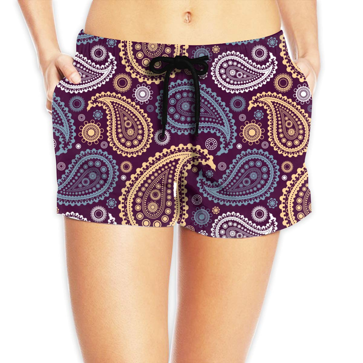 TDynasty Vintage Paisley Women Summer Elastic Beach Board Shorts Quick Dry Yoga Sports Casual Hot Pants with Side Pocket
