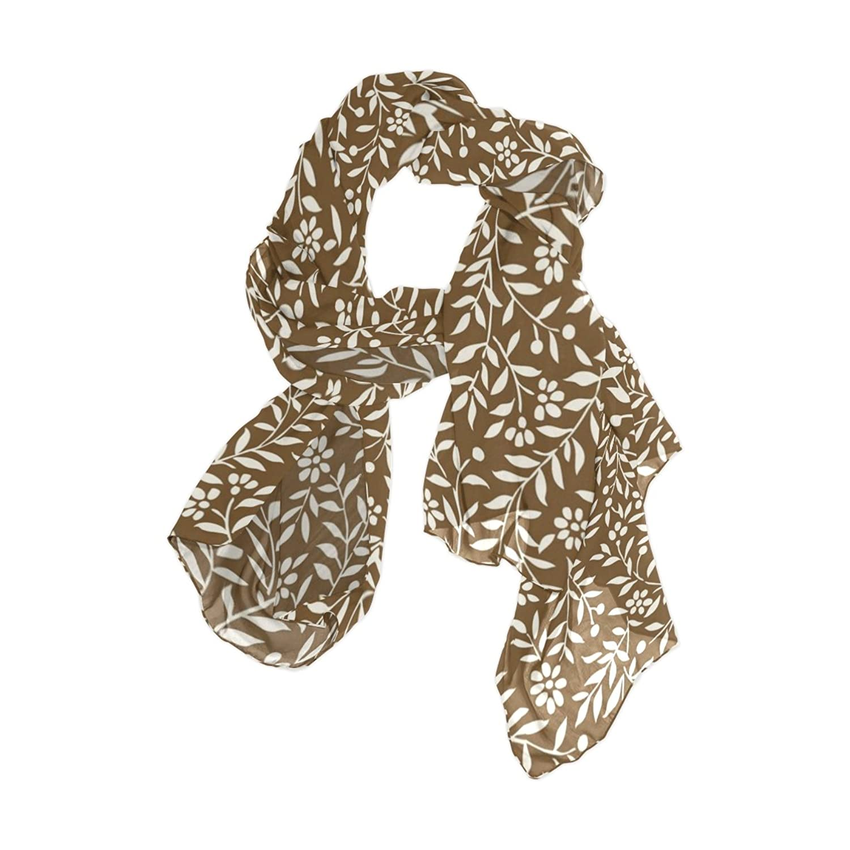 Senya Women's Fashion Large Long Sheer Silk Scarf Shawl Wrap, Branch & Leaf Pattern