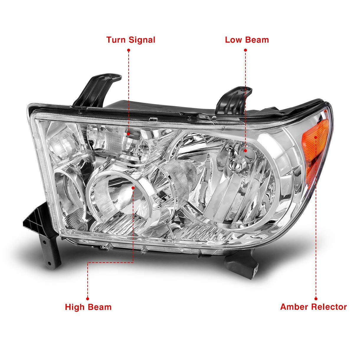 Headlight Assembly for 2007-2011 Toyota Tundra 2008-2016 Toyota Sequoia OE Style Replacement Headlamps Chrome Housing Amber Reflector Passenger /& Driver Side