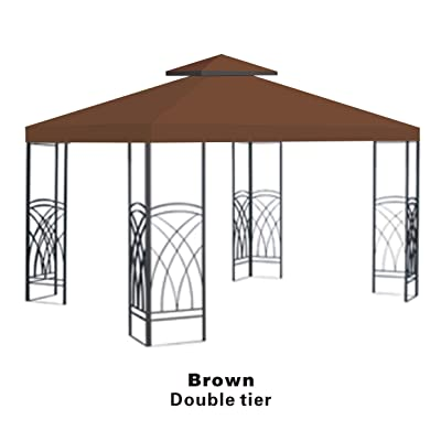 BenefitUSA Brown Double Tier Replacement 10'X10'Gazebo Canopy top Patio Pavilion Cover Sunshade plyester: Garden & Outdoor